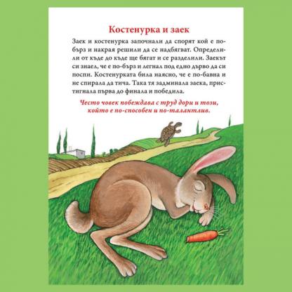 Страница от детска книжка - Басни от Езоп - Костенурка и заек