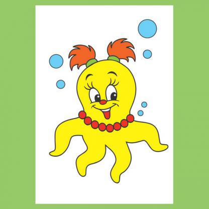 Страница от детската книжка за оцветяване Риби, гларуси, скариди