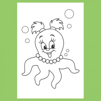 Страница за оцветяване от книжката Риби, гларуси, скариди