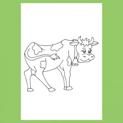 Страница за оцветяване от книжката Животните на село