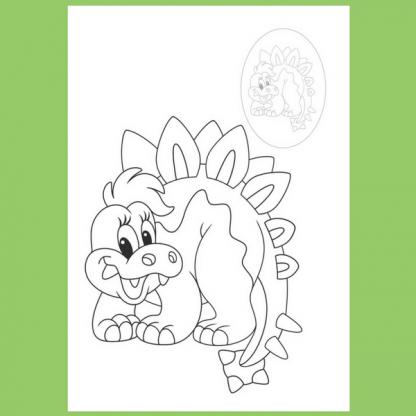 Страница от книжката за оцветяване със стикери - Веселите динозаври