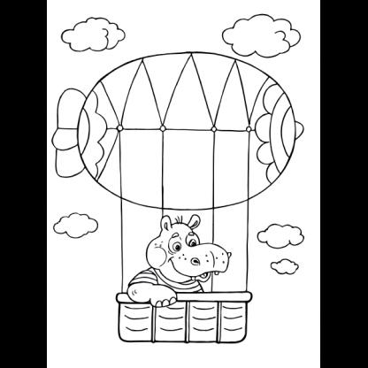 Страница за оцветяване от книжката Превозни средства - Кой пътува по въздух?