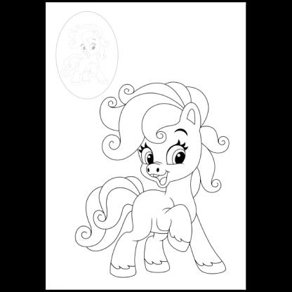 Страница от книжката за оцветяване със стикери - Пони