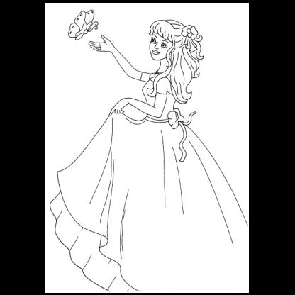 Страница за оцветяване от книжката Принцеси - синя