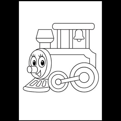 Коли, камиони, влакове - книжка за оцветяване - страница за оцветяване